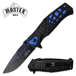 Spring Assisted Knife Black Blue Spider Web Design Pocket Knife