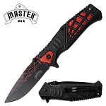 Spring Assisted Knife Black Red Spider Web Design Pocket Knife