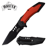 Master Tanto Knife Spring Assisted Knife Black Red Handle