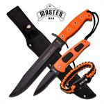 Master USA Fixed Blade Tactical Dagger with Folding Knife Orange EMT