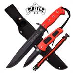 Master USA Fixed Blade Tactical Dagger with Folding Knife Red Fire Fighter