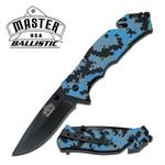 Master Ballistic Spring Assist Tactical Rescue Knife - Digital Navy Camo