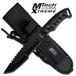 12 Inch MTech Xtreme Tactical Knife with Tanto Blade - Black