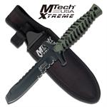7.5 Inch Fixed Blade Knife - Black Green Rubber Handle