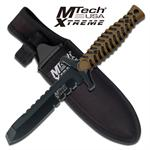 7.5 Inch Fixed Blade Knife - Black Tan Rubber Handle