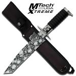 MX-8091T - Mtech Xtreme Fixed Blade Knife with Skull Camo Tanto Blade & Black Wood Handle