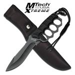 Mtech Xtreme Fixed Blade Knuckle Handle Military Tactical Knife - Black