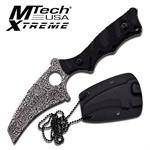 Mtech Xtreme 3MM Damascus Etched Fixed Blade Neck Knife - Black G10 Handle