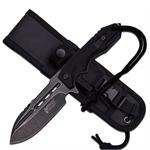 Mtech USA Xtreme 9 Inch Stone Wash Fixed Blade Knife - Black G10 Handle