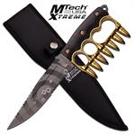 MTech USA Xtreme Fixed Blade Tactical Knife Gold Bullet Knuckle Handle