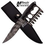 MTech USA Xtreme Fixed Blade Tactical Knife Silver Bullet Knuckle Handle