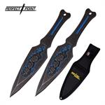 Perfect Point 2 Piece Throwing Knife Set Skull Blue