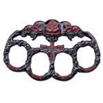 Five Skull Zinc Aluminum Hand Knuckle - Red