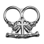 Fantasy Skull and Cross Deisgn Two Finger Knuckle - Silver