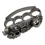 Skull Flower Design Silver Knuckle
