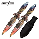 Throwing Knives 7.5 Inch Dragon Design 2 Piece Throwing Knife Set