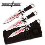 3 Piece Maltese Cross Chopper Perfect Point Throwing Knives with Sheath