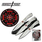 Perfect Point 3 Piece Throwing Knife Set with Target Board - Silver Dragon