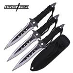 Perfect Point 7.5 Inch Throwing Knives 3 Piece Set - Two Tone Balck Silver