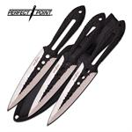 Perfect Point 3 Piece 9 Inch Throwing Knife Set Black Silver