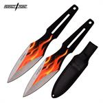 Perfect Point 9 Inch Length 2 Piece Throwing Knife Set Flame Design