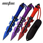 Perfect Point 3 Piece Throwing Knife Set 2 Tone Blue Purple Red