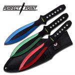 Perfect Point 3 Piece 9 Inch Length Multi Color Throwing Knife Set with Sheath