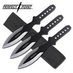 3 Piece Set Black Silver Throwing Knives Set - 9