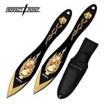 7 Inch Overall Length 2 Piece Throwing Knife Set Flaming Skulls Yellow