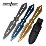 Throwing Knife 3 Piece Set Assorted Color  Blue Gold Stonewash
