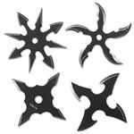 4 Piece Two Tone Black Stainless Steel Assorted Throwing Stars