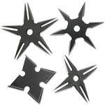 4 Piece 2 Tone Black Stainless Steel Assorted Throwing Stars with Pouch