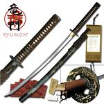 Ryumon Raijin Hand Forged Carbon Steel Katana - Painted Bamboo