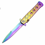 DZS Spring Assisted STILETTO God Father Style Pocket Knife with Clip Rainbow