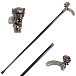36 Inch Demon Skull Head Intricate Carved Walking Cane Stick
