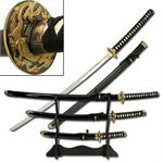 3 Piece Traditional Samurai Katana Sword Set