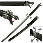 Black Dragon Samurai Katana Sword with Dragon Claw Tsuba