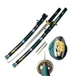 Green Samurai Sword 38 Inch Overall with Scabbard and Throwing Knives