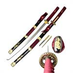 Red Samurai Sword 38 Inch Overall with Scabbard and Throwing Knives