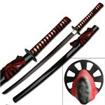 Black Samurai Sword With Black Red Cord Wrap Handle