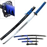 3 Piece Samurai Katana Sword Set Carbon Steel Blade - Blue