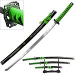 3 Piece Samurai Katana Sword Set Carbon Steel Blade - Green