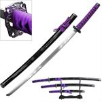 3 Piece Samurai Katana Sword Set Carbon Steel Blade - Purple