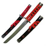 21 Inch Mini Samurai Sword with Scabbard Red Cord Wrapped Handle