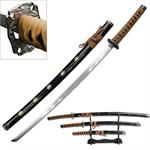 3 Piece Samurai Katana Sword Set Carbon Steel Blade - Tan