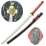Hand Sharpened Carbon Steel Katana with Carved Red Dragon Scabbard