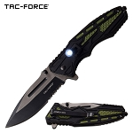 Tactical Knife Spring Assisted Knife LED Light Black Green Handle