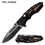 Tactical Knife Spring Assisted Knife LED Light Black Tan Handle