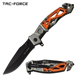Tactical Spring Assisted Pocket Knife Gray Orange Glass Breaker Handle