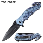 Tactical Pocket Knife Spring Assisted Knife Blue Camo